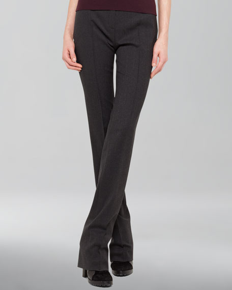Full-Length Wool-Blend Pants, Coal