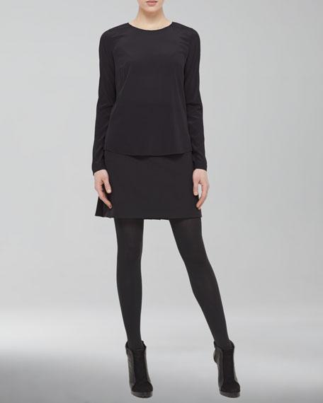Kilt-Back Wool-Blend Miniskirt