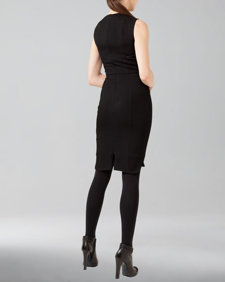 Faux-Leather-Trim Wool Shirttail Dress, Black