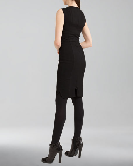Faux-Leather-Trim Wool Shirttail Dress, Black