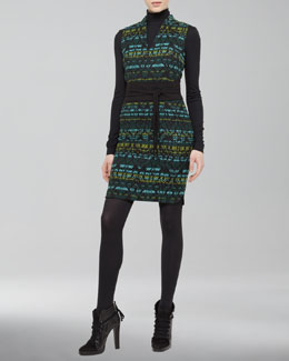 Akris punto Cotton-Blend Jacquard Dress, Black/Turquoise