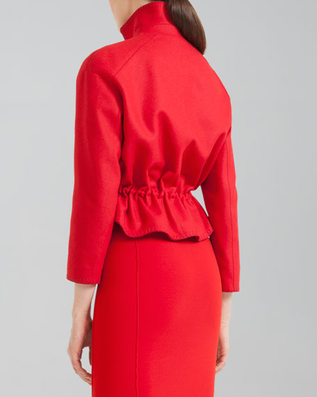 Cropped Ruffle-Back Jacket