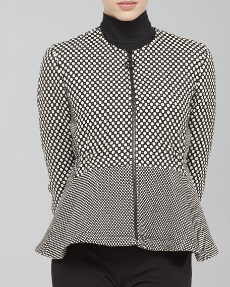 Dot Wool-Blend Peplum Jacket, Black/Cream