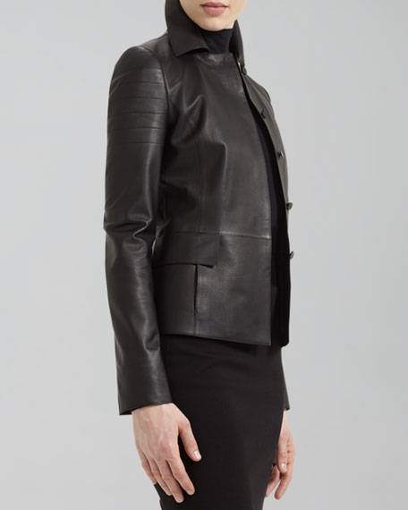 Quilt-Detail Napa Leather Jacket, Black
