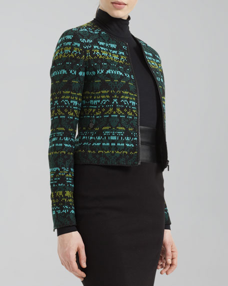 Cotton-Blend Jacquard Jacket, Black/Turquoise