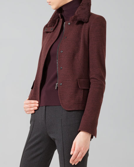 Wool Jersey Jacket with Detachable Fur Collar, Wine