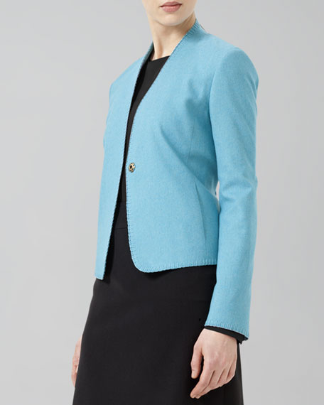 Single-Button Ruffle-Back Jacket