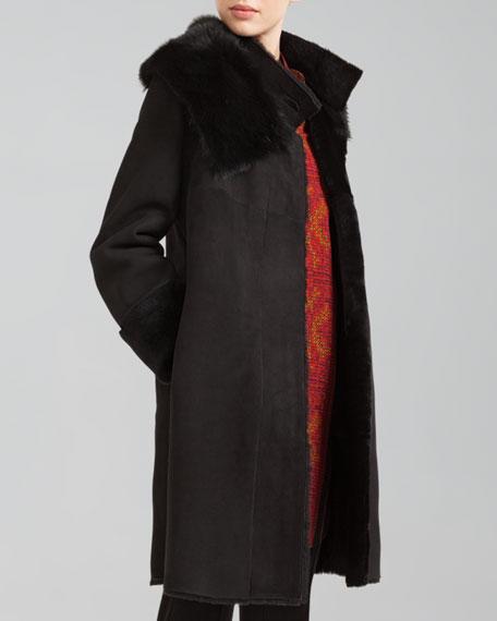 Twin-Face Lamb Fur Coat, Black