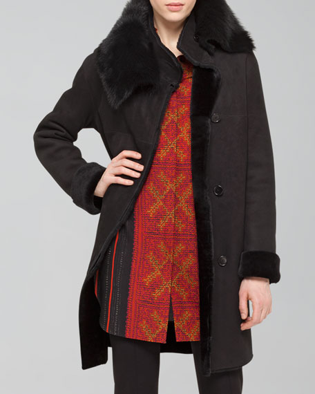 Twin-Face Lamb Fur Coat, Black