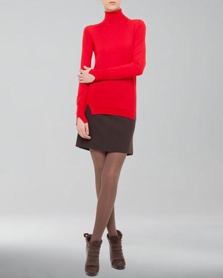 Kilt-Back Wool Miniskirt