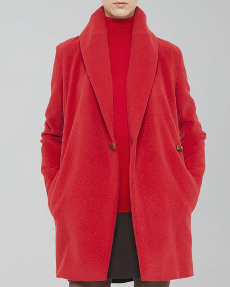 Buckled Shawl-Collar Short Coat