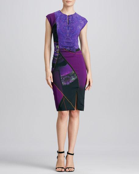 Mixed-Print Keyhole-Neck Sheath Dress