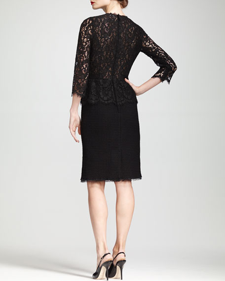 Lace-Bodice Peplum Dress