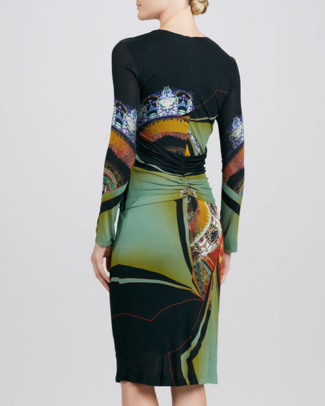 Ruch-Waist Printed Long-Sleeve Dress