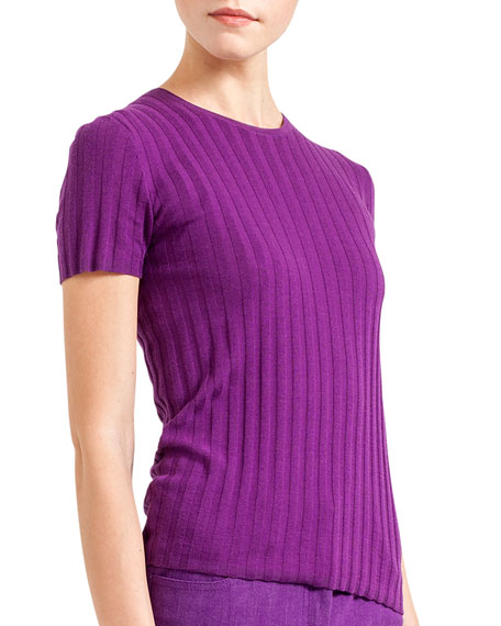 Short-Sleeve Ribbed Cashmere-Silk Pullover