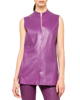 Akris Sleeveless Leather Snap Tunic
