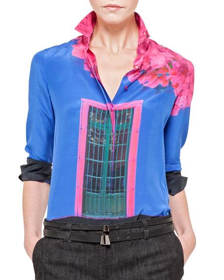 Casa Azul Printed Silk Blouse