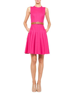 Akris Sleeveless Belted Pleat Dress