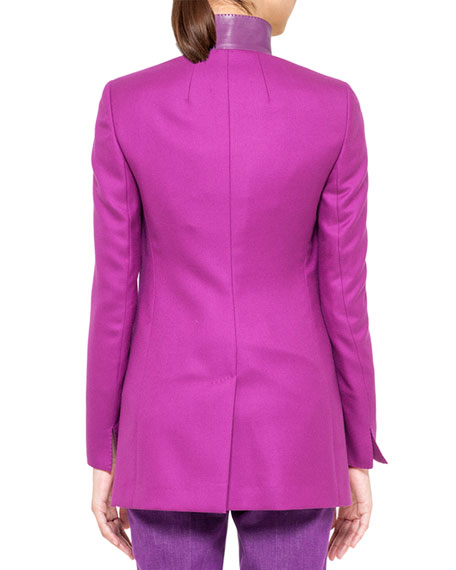 Leather-Collar Cashmere Jacket