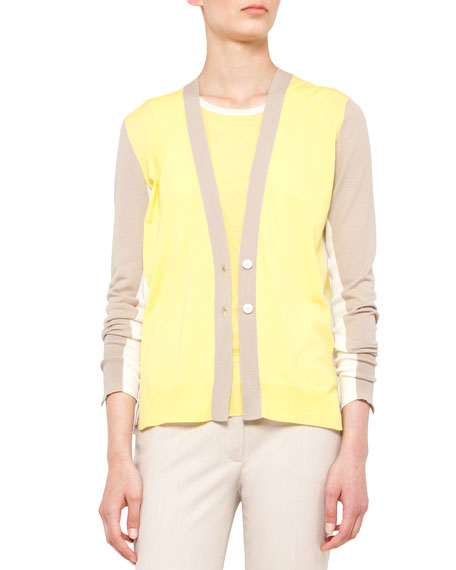 Colorblock V-Neck Wool Cardigan