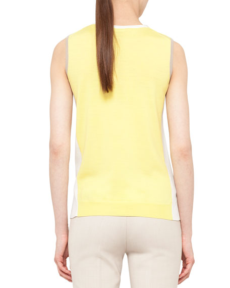 Colorblock Split-Hem Wool  Tank