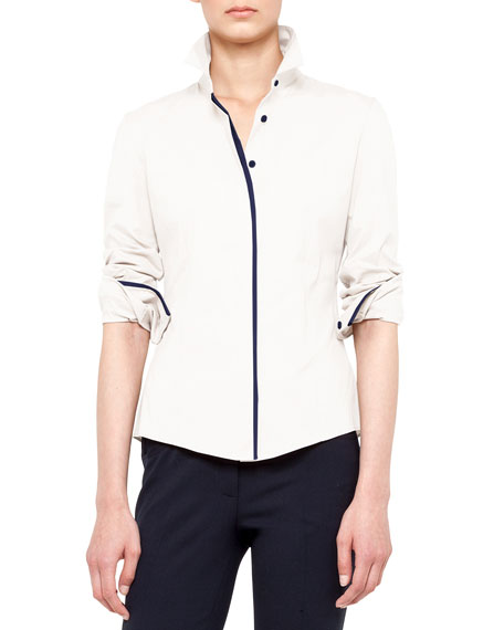 Buttoned Contrast-Piping Shirt
