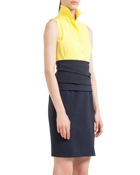 Sleeveless Colorblock Cummerbund Dress