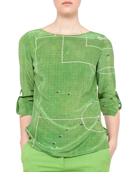 soccer print blouse
