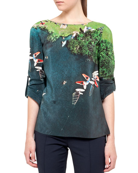 Surfer-Print Tab-Sleeve Blouse