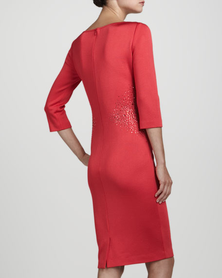 V-Neck Three-Quarter-Sleeve Dress, Grenadine