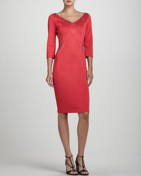 V-Neck Three-Quarter-Sleeve Dress, Grenadine