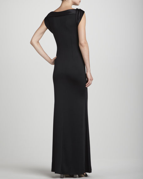 Cap-Sleeve Combination Gown