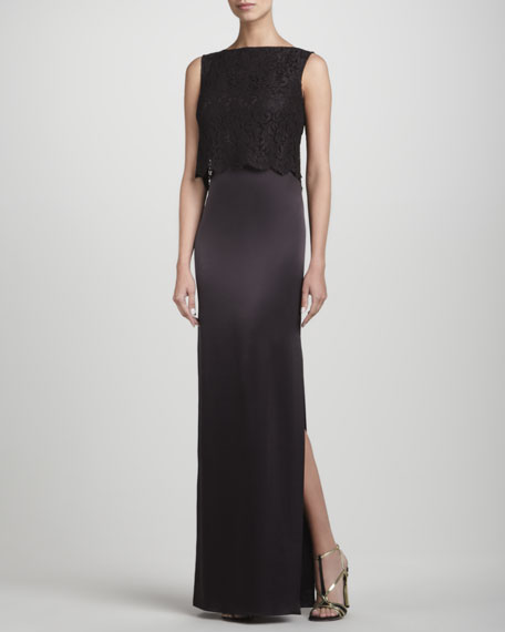 Lace-Overlay Combination Gown