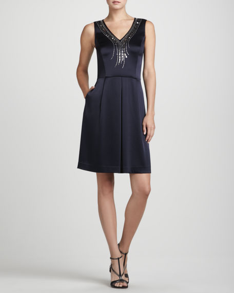 Sequin-Neck Charmeuse Dress