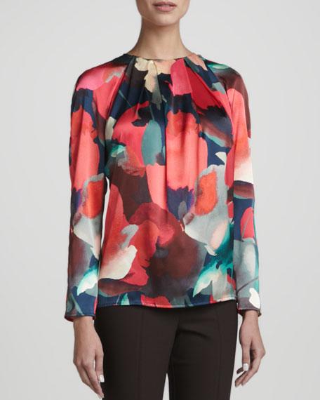 Long-Sleeve Blouse, Grenadine/Multicolor