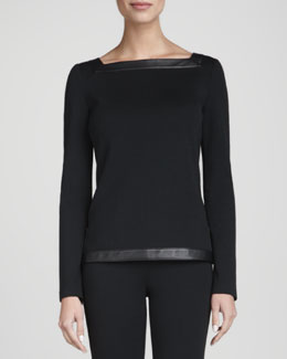 St. John Collection Square-Neck Top, Caviar