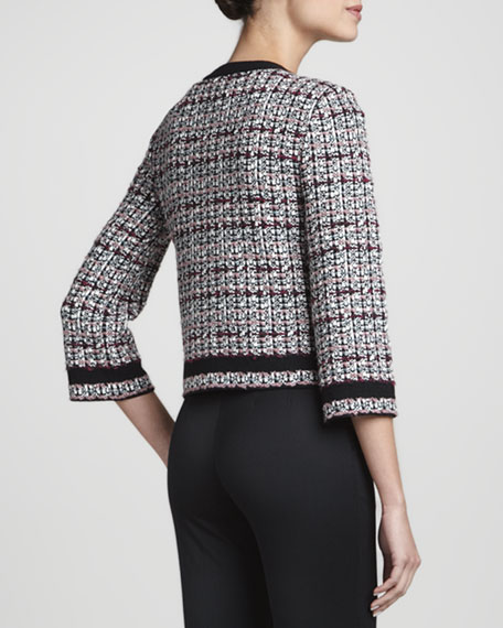 Top-Closure Tweed Jacket, Caviar/Multi