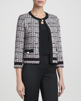 St. John Collection Top-Closure Tweed Jacket, Caviar/Multi