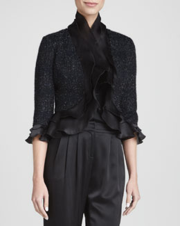 St. John Collection Ruffled Cropped Jacket, Caviar/Multi