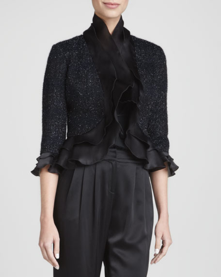 Ruffled Cropped Jacket, Caviar/Multi