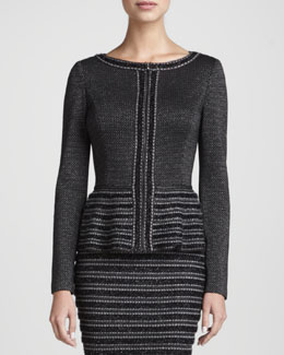 St. John Collection Trimmed Zip Peplum Jacket