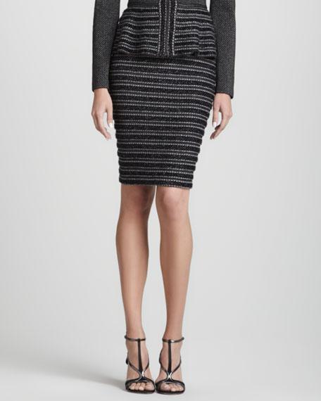 Metallic Ribbed Pencil Skirt