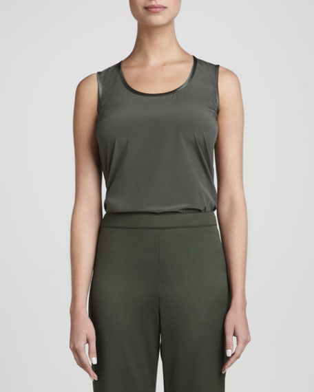 Scoop-Neck Knit Tank, Loden