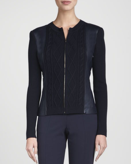 Strong-Shoulder Zip Jacket, Navy
