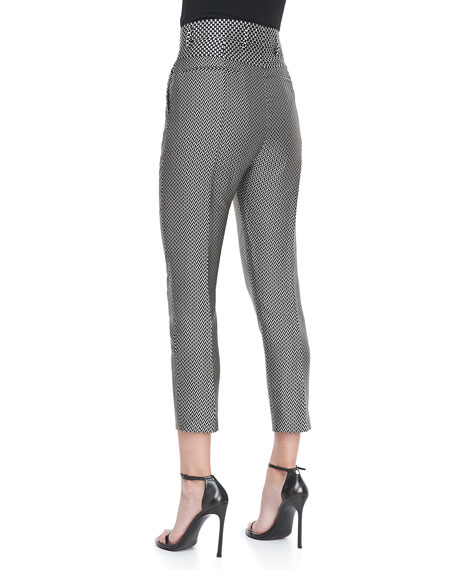 High-Waist Cropped Jacquard Pants