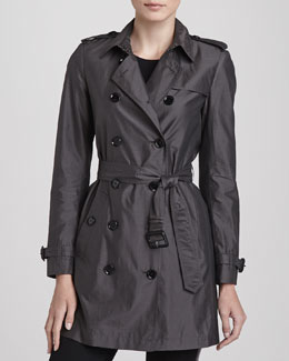 Burberry London Lightweight Mulberry Silk Trenchcoat