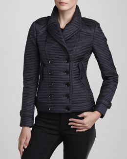 Burberry London Double-Breasted Quilted Jacket, Navy