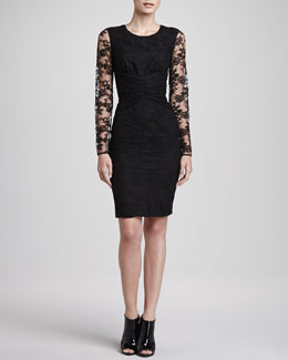 Burberry London Ruched Waist Lace Dress, Black