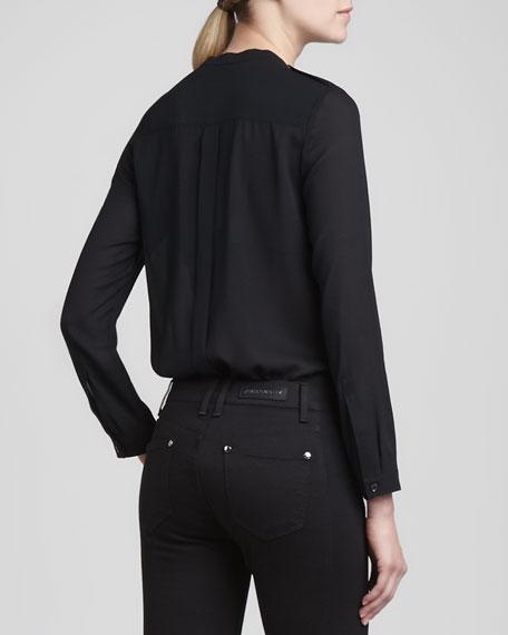 Long-Sleeve Chiffon Pocket Blouse