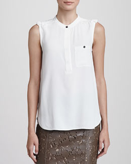 Burberry London Sleeveless Crepe Blouse with Pocket